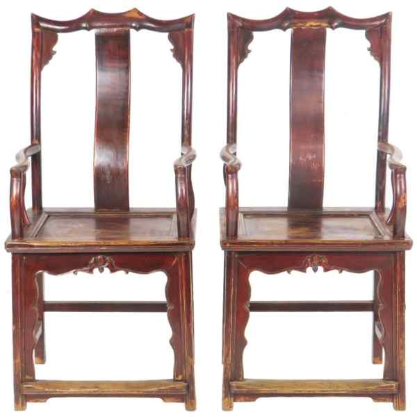 Pair Antique Chinese High Back Elm Armchair Red Lacquer