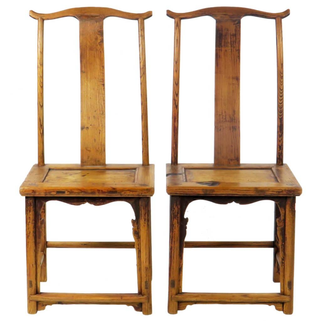 Pair Antique Chinese High Back Lamp hanger Side Chairs - Pair Antique Chinese High Back Lamp Hanger Side Chairs, Sold As Pair
