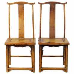 Pair Antique Chinese High Back Lamp hanger Side Chairs