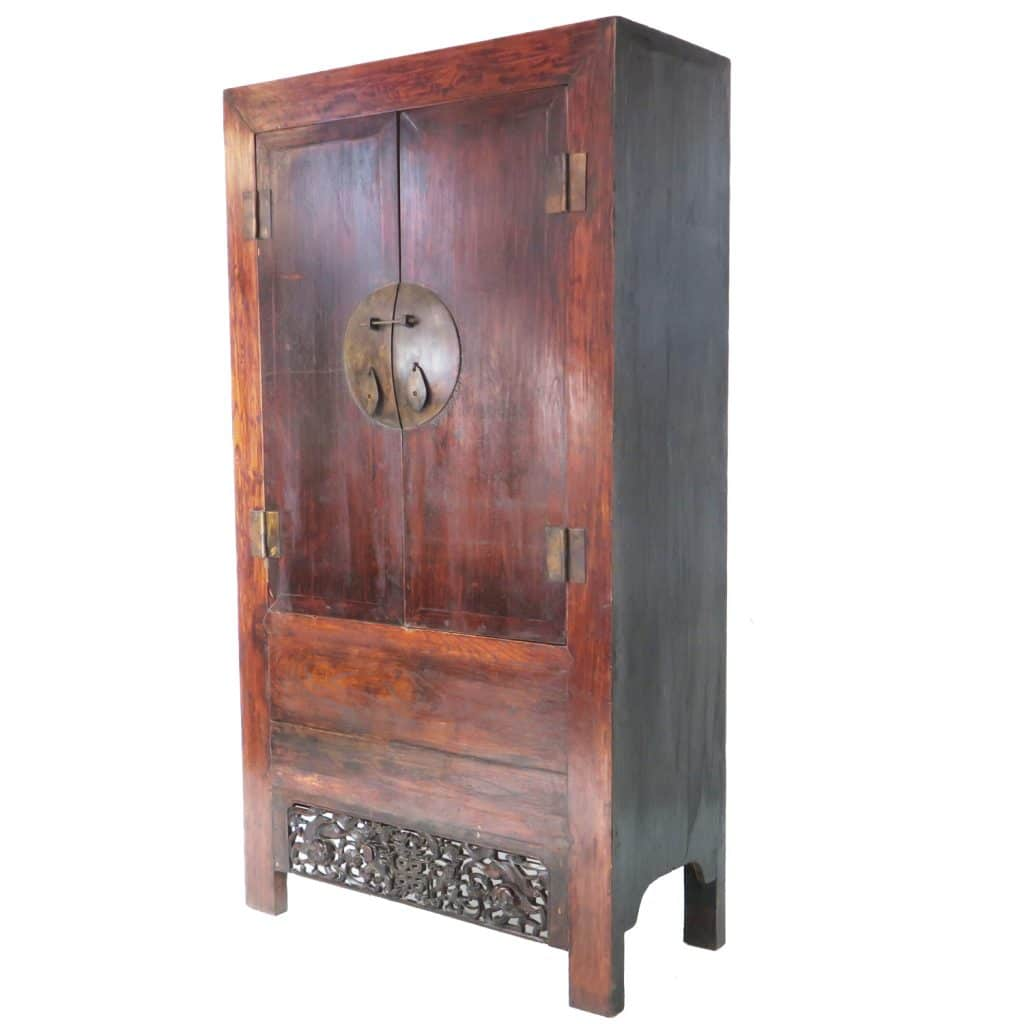 - Antique Chinese 7 Ft Tall 2 Door Elm Wardrobe Wedding Cabinet