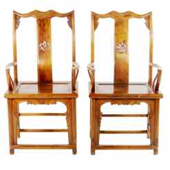 Pair Antique Chinese High Back Elm Armchair Natural Lacquer