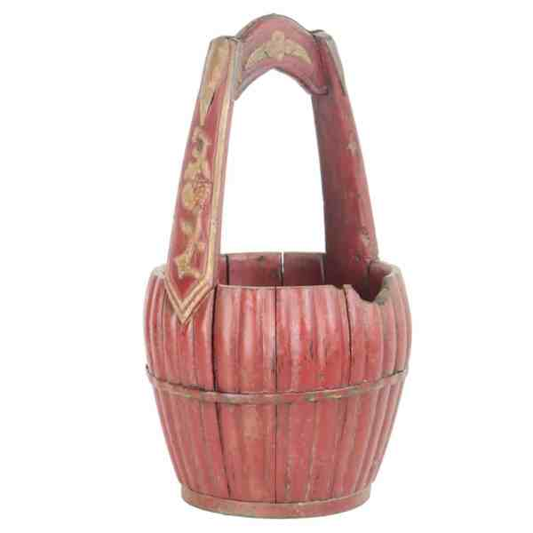 Antique Chinese Red Carved Wood Utility Bucket