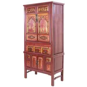 Antique Chinese Deep Red 76 inch Tall Cabinet Gilt Designs