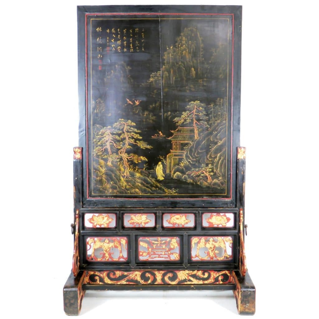 Antique Bed: Antique Chinese Black Lacquer Floor Screen 93 Inch Tall W