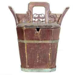 Antique Chinese Wood TeaPot Holder Bucket.