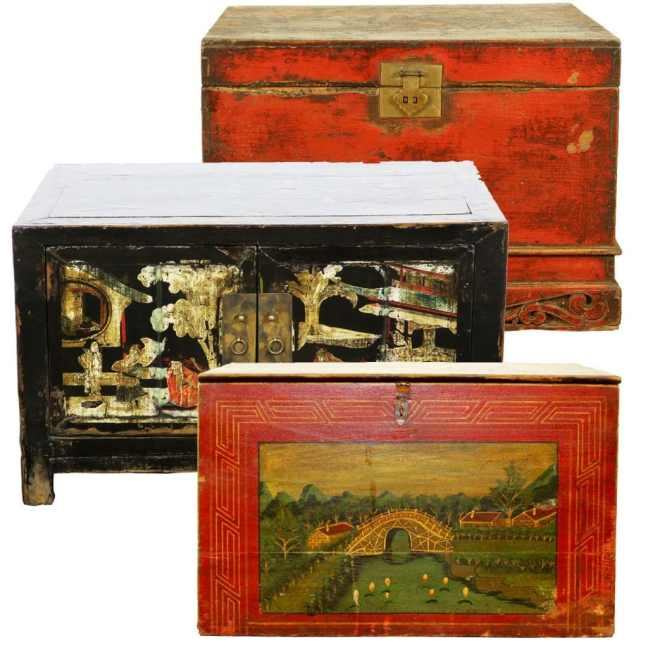 Antique Chinese Trunks and Boxes - Antique Chinese Furniture Cabinets Tables Accessories