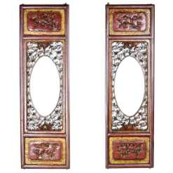 Pair Antique Chinese Carved Wood Screens 10 x 32 inch