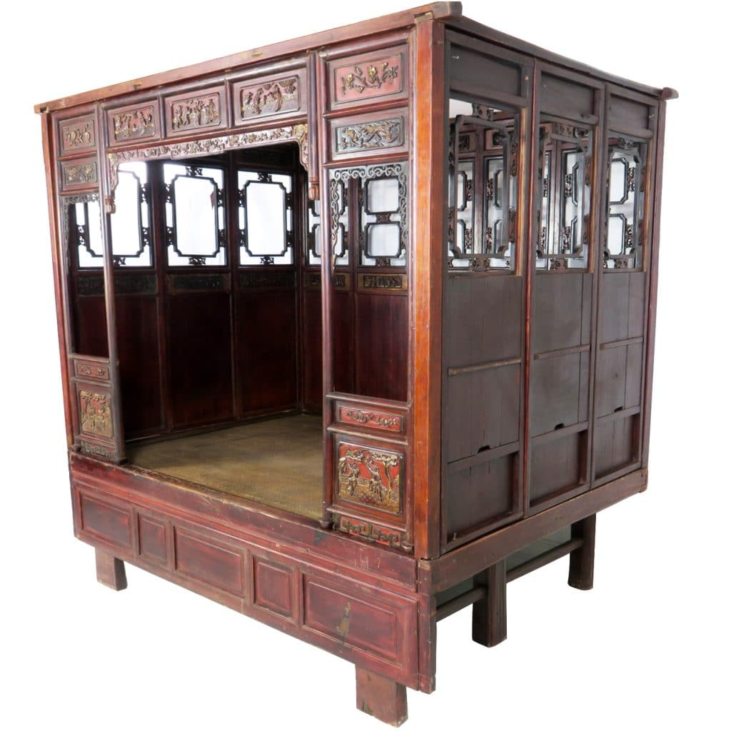 Antique Bed: Antique Chinese Wedding Opium Bed With Carvings