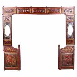 Antique Chinese Carved Wood Wedding Canopy Front Frame Set