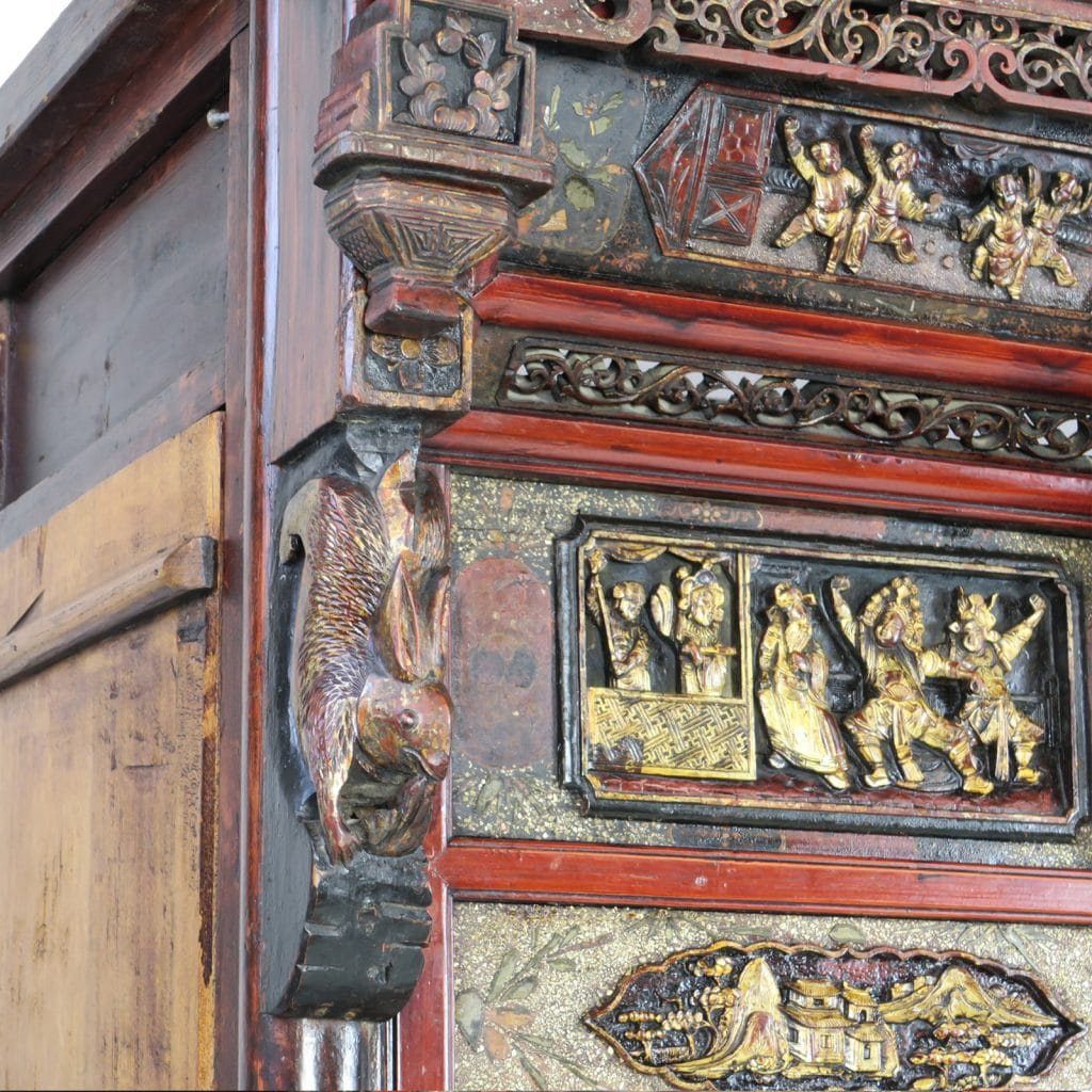 Antique Bed: Antique Chinese Wedding Opium Canopy Bed With Intricate