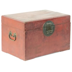 Antique Chinese Small Rustic Red Trunk