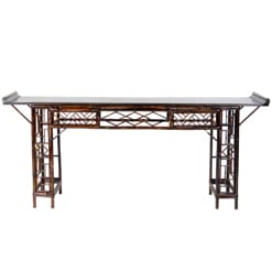 Vintage Chinese Bamboo Console Altar Table