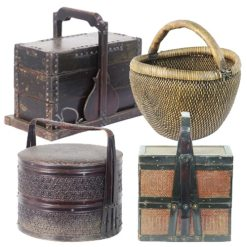 Antique Chinese Baskets Buckets Food Carriers