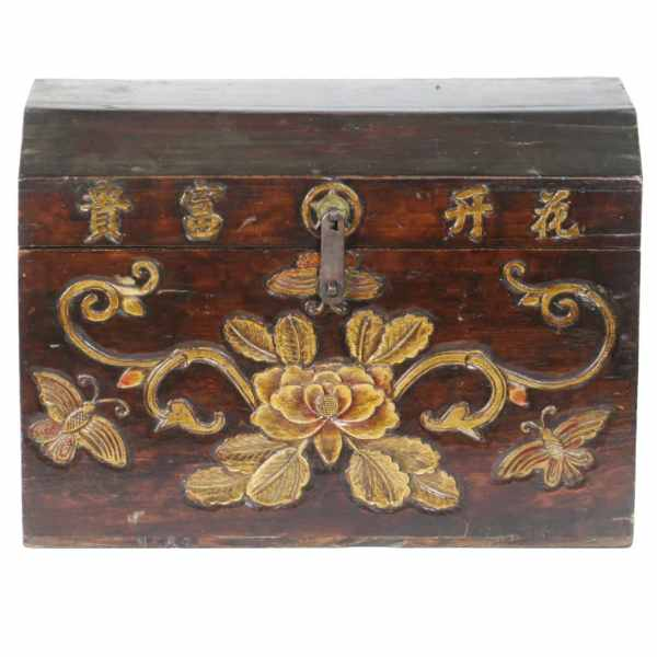 Antique Chinese Small Carved Front Trunk