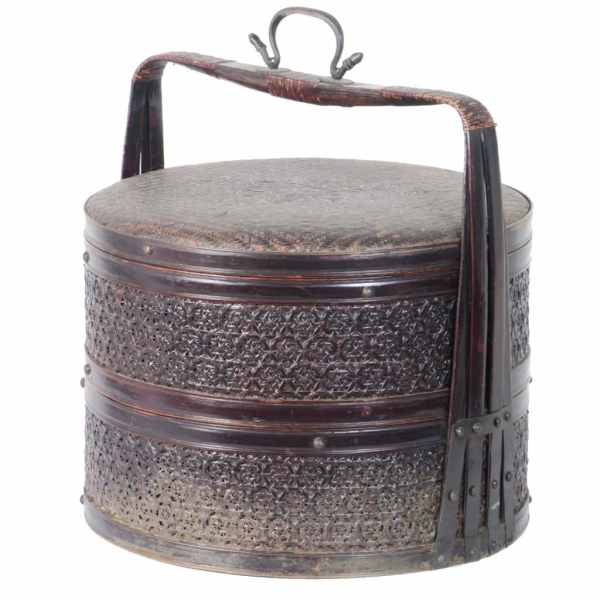Antique Chinese 2 Tiered Round Cane and Bamboo Food Container
