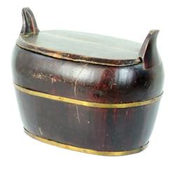 Vintage Chinese Wood Shoe Bucket