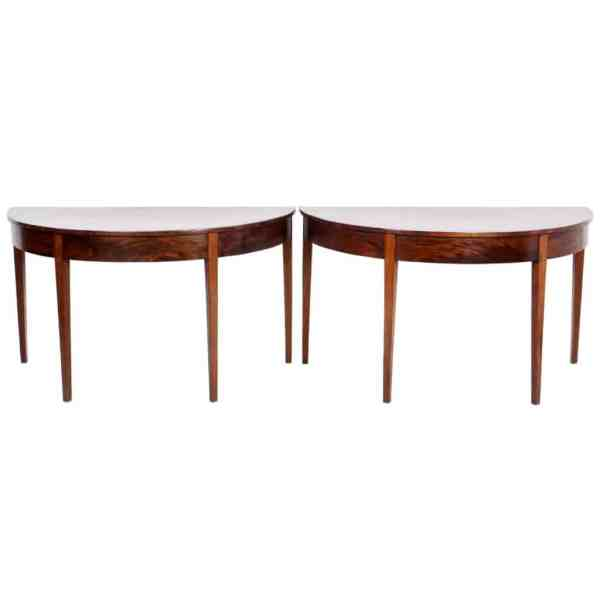 Pair Antique Mahogany Demilune Tables