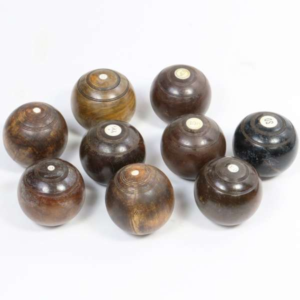 Antique English Wood Bocce Balls or Lawn Bowling Balls with Ivory Inlay.