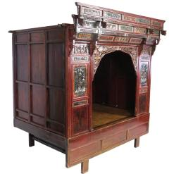 Antique Chinese Wedding Bed with beautiful carved details