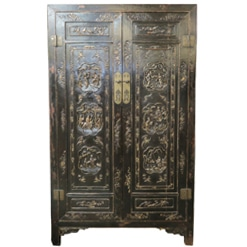 Antique Chinese Black Wardrobe Cabinet with Gold Carvings