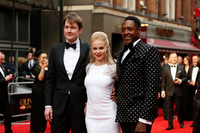 Killian Donnelly, Amy Lennox and Matt Henry, winner of the best actor in a musical for 'Kinky Boots'