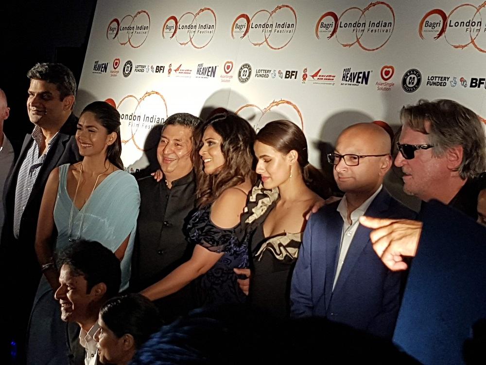 Team Love Sonia: Amar Butala, Mrunal Thakur, Tabrez Noorani (director), Richa Chadha, Riya  Sisodia, Alkesh Vaja (writer), David Womark, Manoj Bajpayee sitting