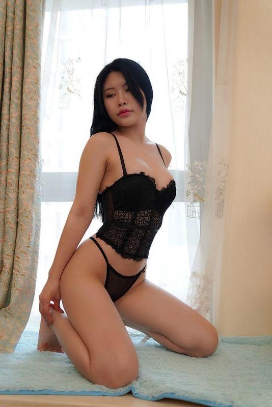 Sexy asian black lingerie