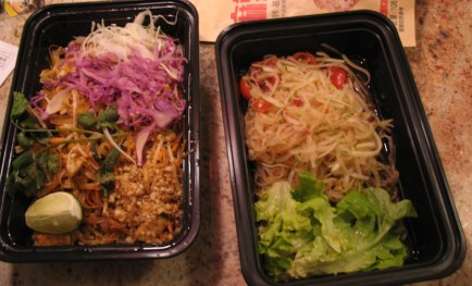 A take out order of Pad Thai and (Isaan style) papaya salad. Chabaa's Pad Thai is the best in town as far as I'm concerned