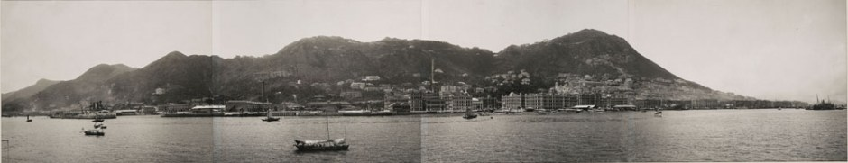 A panorama of Hong Kong harbor