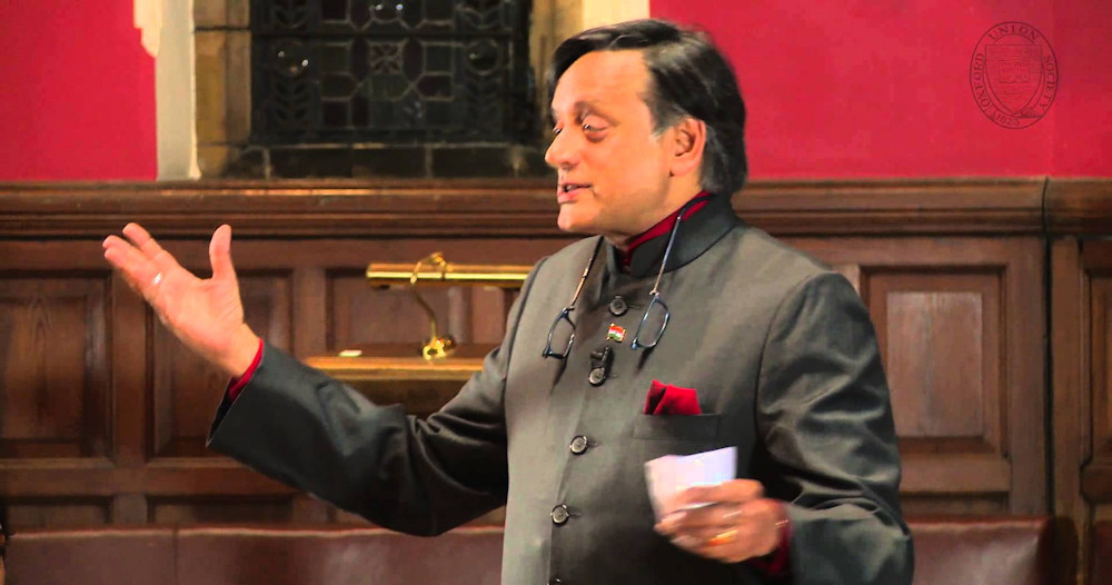 Shashi Tharoor speaking at Oxford (via YouTube)
