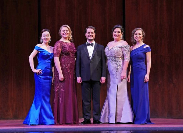 Winners of the 2018 Metropolitan Opera National Council auditions: Wu Hongni, Jessica Faselt, Carlos Enrique Santelli, Ashley Dixon and Madison Leonard