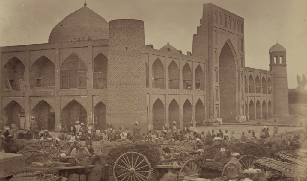 The Madali Khan Madrasa in Kokand, taken in the 1860s (Wikimedia)