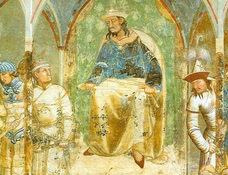 Mongol commander of a thousand troops (right), in Ambrogio Lorenzetti's Martyrdom of the Franciscans, 1330.