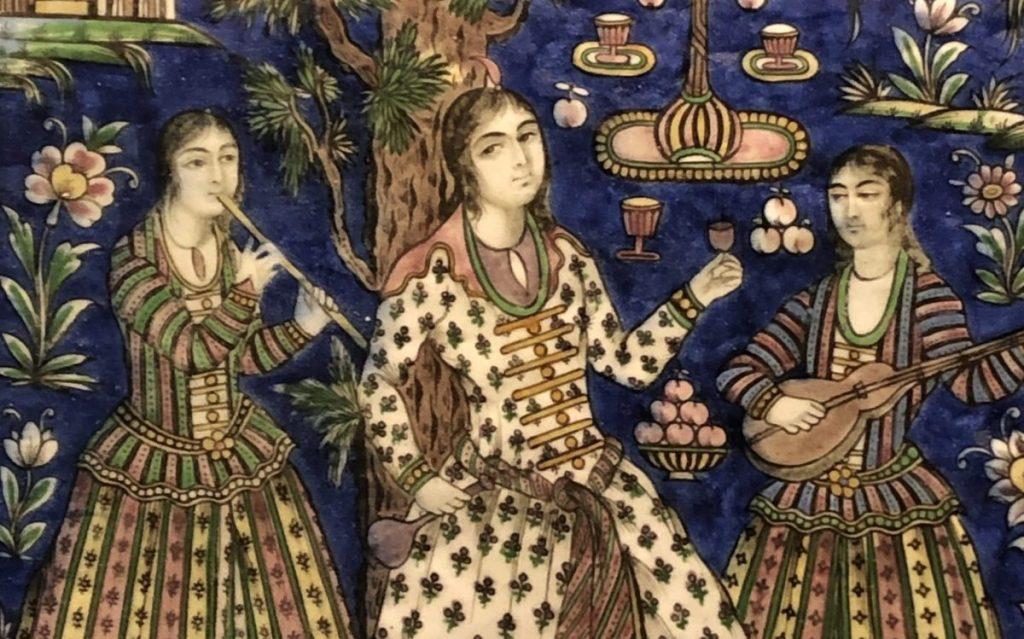 Detail of decorative tile, Qajar period Iran (Musée de Beaux Arts, Lyon)