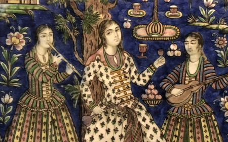 Detail of decorative tile, Qajar period Iran (Musée de Beaux Arts, Lyon)