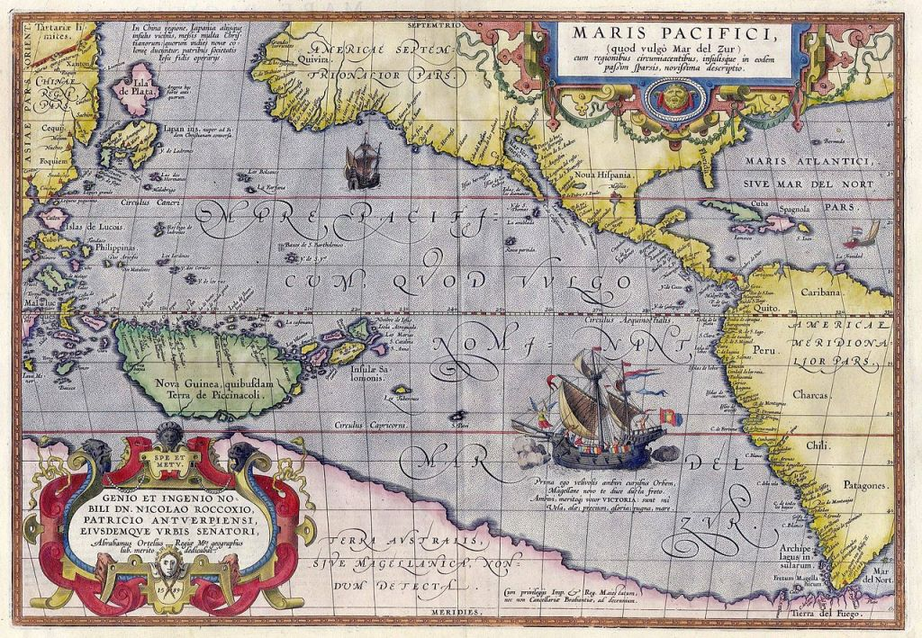 Maris Pacifici by Abraham Ortelius, 1589 (via Wikimedia Commons)