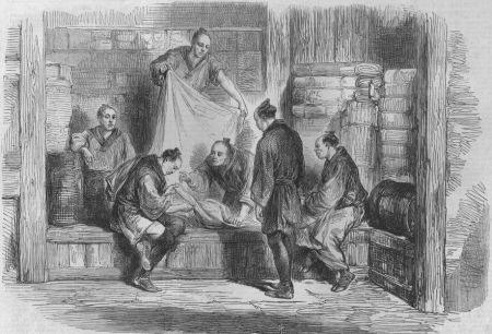 """Buying Camlets in  a Shop, Yokohama"", Illustrated London News, 1865"