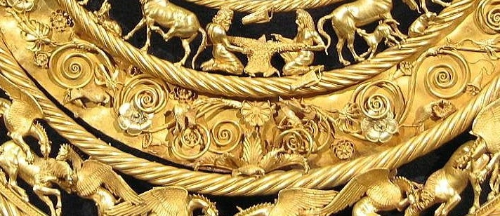 Detail of golden pectoral from Tovsta Mohyla (Wikimedia Commons)