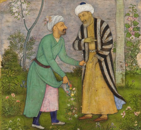 Detail of Mughal manuscript c 1645 showing Saadi (right) in a rose garden (Wikimedia Commons)