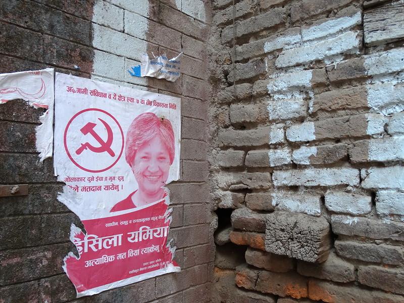 Election poster featuring Hisila Yami (Photo:  Adam Jones )