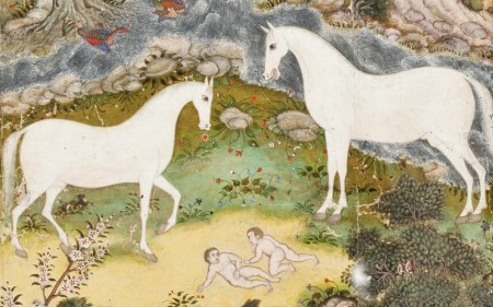 Birth of the Celestial Twins, detail of Mughal watercolor, ca 1585-1590 (LAMCA)