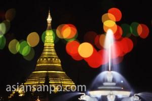 ミャンマー ヤンゴン・シュエダゴンパゴダ夜景