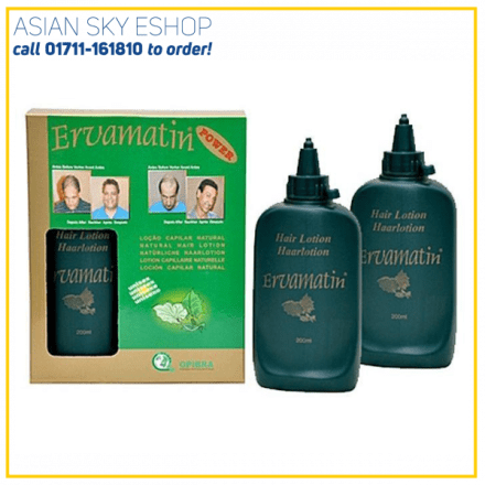 Ervamatin Hair Lotion - 2pcs - 400ml Ervamatin Power Hair loss Treatment Made from Amazon Forest Trees Usable for both male and female Good tonic for hair