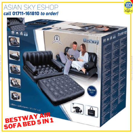 Bestway 5 in 1 Inflatable Double Air Bed Sofa cum Chair