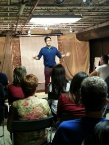 Franco makes 'em laugh as he presents his stand-up comedy session.