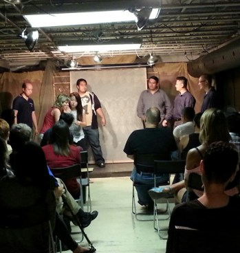 """James and his crew do their thing, in presentation of their """"Improv & Characters for near beginners"""" session."""