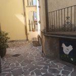 Rysunek kury na murze budynki