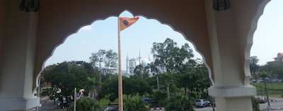 Gurdwara Sahib Kuantan. Across is one of the mosques in the state capital of Pahang - PHOTO ASIA SAMACHAR