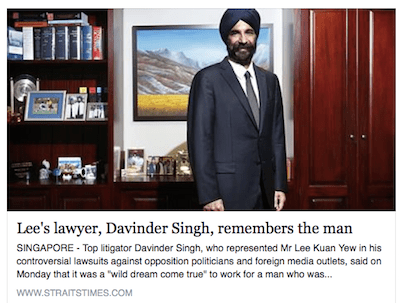 Lawyer Davinder remembers Lee Kuan Yew in a news report in Singapore's Straits Times