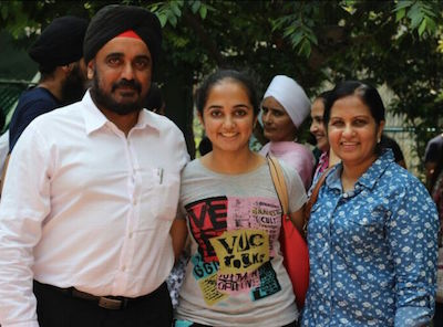 Top scorer Tripthpal Kaur with her parents, Jasmindar Singh and Karamjit Kaur